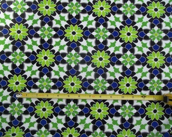 Poly Lycra ITY Jersey Knit Floral Medallion Royal Blue Black Green White 60 in. wide Per Yard