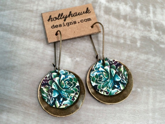 Leather & Antique Brass Earrings Succulants Digital Photo Print on 100% Genuine Leather * SALE * Coupon Codes