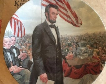 """Edwin Knowles Collectible Plate Abraham Lincoln, Man of America """"The Gettysburg Address"""" 1986 CP8"""