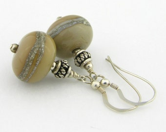 Tan and Ivory Lampwork and sterling silver earrings taupe brown