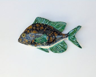 Scup ceramic fish art decorative wall hanging