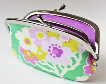 Coin purse wallet - flowers on green, purple lavender chartreuse flowers, blossoms, kiss lock coin purse, floral change purse, emerald green