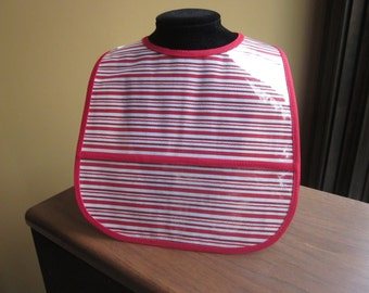 WATERPROOF WIPEABLE Baby to Todller Plastic Coated Bib Red and White Candy Cane Stripes