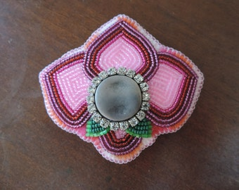 Pink Rhinestone Flower Blossom Hair Barrette