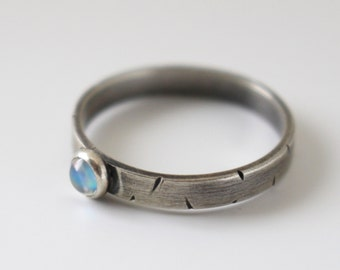 Blue Moon sterling silver and rainbow moonstone ring