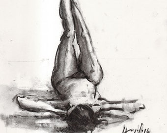 Original Figure Sketch - 14x11 Female Nude Charcoal Drawing by David Lloyd