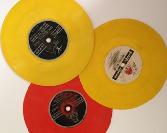 Vintage Little Yellow Orange Vinyl Golden Records - Retro Kids Music Home Decor - Nursery Playroom Decor