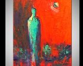 Red Art - ABSTRACT figure Art  - ORIGINAL Modern Artwork 10 x 8 by BenWill