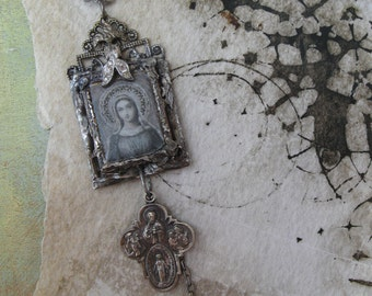 Abiding Love, repurposed vintage, antique, hand - soldered pendant, Madonna, Holy Virgin, crystal, rosary beads, rosary necklace, upcycled