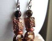 Mottled Copper Brown Earrings. Mother of Pearl Earrings. MOP Copper Earrings. Under 25, Gifts for Her.