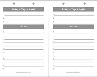 Printable Daily Planner Page (Letter Size) - Notebook Refill - Grey Theme