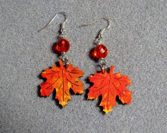 Autumn Leaves Maple Oak Handmade Wooden Dangle Earrings Hypoallergenic 14E