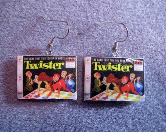Twister Game Box Kitsch Dangle Polymer Clay Earrings Hypo Allergenic Nickle-Free