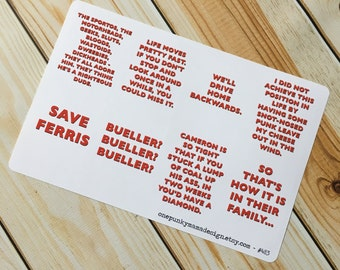 Ferris Bueller Movie Quote Stickers for Erin Condren (ID483)