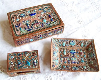 Antique Chinese Cloisonne Smoking Set