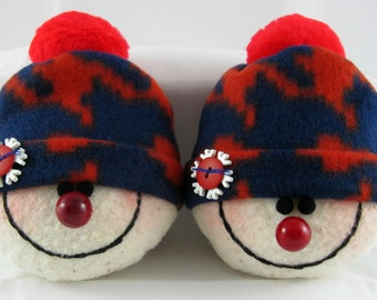Handmade Snowman Ornaments, Christmas Decoration, Set of 2 Snowman Decorations, Stuffed Snowhead, Christmas Ornaments, Navy and Red Fleece