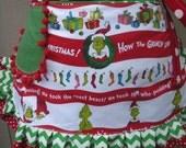 Aprons -  Dr Seuss Christmas Aprons - How The Grinch Stole Christmas Aprons - Etsy Aprons - Annies Attic Aprons - 1957 Dr. Seuss Enterprises
