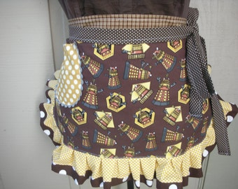 Womens Aprons - Dr Who Aprons - Womens Doctor Who Aprons - Exterminater Aprons - Annies Attic Aprons - DALEK Aprons - Brown Aprons