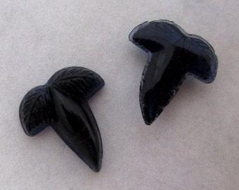 6 pcs. vintage glass sapphire blue acorn leaf cabochons 11x10mm - f4911