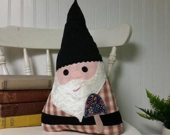 Garden Gnome - Garden Gnome Pillow -  Fairy Tale Pillow - Decorative Pillows - Character Pillow - Gnome Pillow - Orange Plaid Shirt