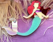 The Little Mermaid Laser Cut Acrylic Necklace