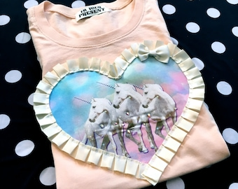 Peach and Pastel Unicorns Digital Print Applique T Shirt S/M