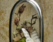 Bookworm Butterfly Terrarium Pendant - Large Silver Arch
