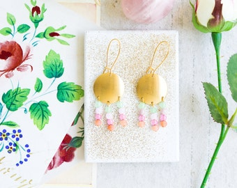 Golden Brass Gemstone Beaded Chandelier Earrings, Gemstone Chandeliers, Pastel Chandelier Earrings
