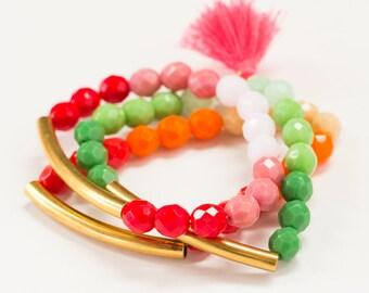 Bead Bracelet Trio Set, Three Color Stretch Bead  Bracelet, Brass Tube Bracelet trio with tassel