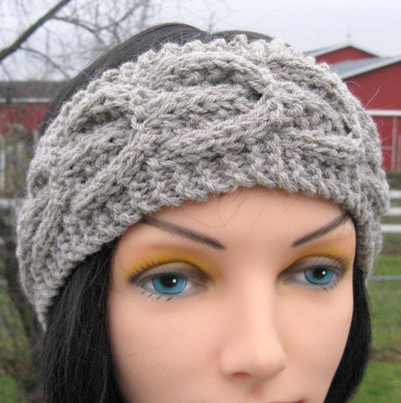 Alpaca Headband Knitting Pattern : Gray Knit Headband Alpaca Wool Ear Warmer Warm by NorthStarAlpacas