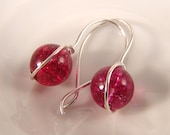 Berry Crackle Quartz Round drop earrings Sterling Silver