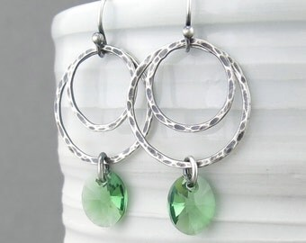 Green Crystal Earrings Silver Hoop Earrings Sterling Silver Earrings Silver Jewelry Green Earrings Rustic Jewelry Gift for Her - Ashley