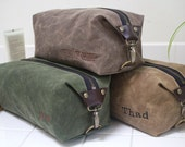 Gift for Men, Men's Dopp Kit, Men's Toiletry Bag, Men's Travel Bag with Inside Pocket - Water Resistant Lining, Waxed Canvas - Handmade