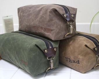 Gift for Men, Men's Dopp Kit, Men's Toiletry Bag, Men's Travel Bag with Inside Pocket - Water Resistant Lining, Waxed Canvas - Handmade