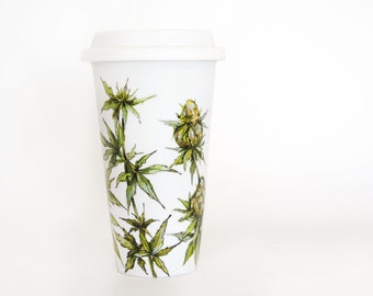 White Ceramic Travel Mug  - Cannabis Plant | Botanical Collection