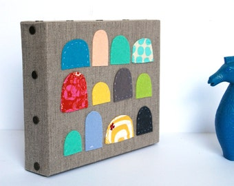 Modern Wall Art, Linen Hand Stitched Wall Hanging, Colorful Nursery Decor