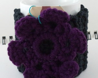 Crocheted Coffee or Ice Cream Cozy in Black Cotton with Purple Flower and Purple Button (SWG-H01)