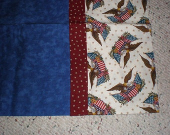 Navy Blue with Eagles and Flags Patriotic Print Standard Size Bed Pillow Case