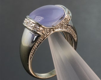 Vintage! 14K White Gold Ring with Blue Chalcedony and Diamonds
