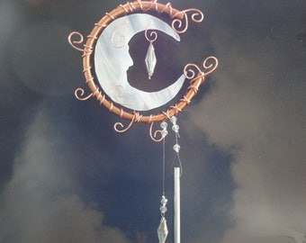 """Stained Glass Moon, Wind Chime, Sculpture, Garden Art, Mobile, Wall Hanging, Home Decor, Celestial, Copper, Porch, Sun Catcher, """"Moon Man"""""""