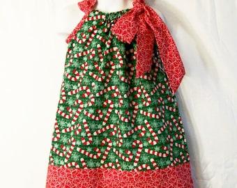 Girls Christmas Candy Cane Pillowcase Dress, Baby Girls Dress, Toddler Girls Dress, Big Girls Dress, Handmade Dress, Girls clothing, #464