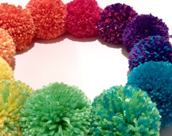 "Jumbo Pom Poms - Available In 3"" or 4"" - Magical Unicorn Decorations, Choose Your Color"