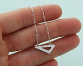 Small Horizontal Triangle Geometric necklace handcrafted by Chocolate and Steel