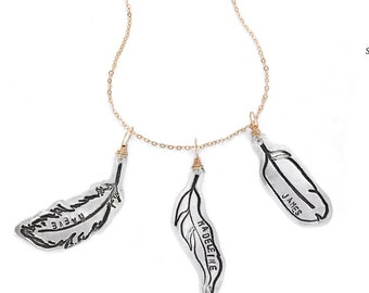 CUSTOMIZED FEATHER Grandmother, Mother Necklace - handcrafted sterling silver and gold wrapped necklace handcrafted by Chocolate and Steel