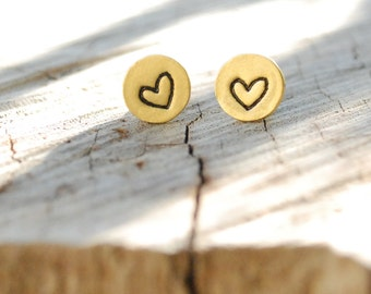 HEART earrings, LITTLE LOVE studs, eco-friendly silver. Handcrafted by Chocolate and Steel