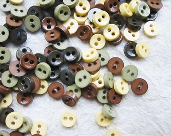 SALES 100 pcs Tiny 2 hole button - 6.5 mm. for making Barbie, Blythe and dolls clothes SET21