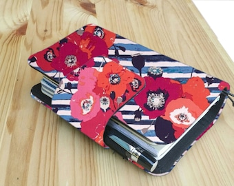 Pre- order striped poppy  floral Fabric Fauxdori Travelers Notebook  card slots   internal pockets pen loop snap closer