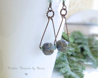 Rustic Copper Earrings Green Swarovski Crystals Blue Green Ceramic Barrel Beads Rustic Triangle Earrings