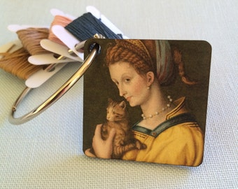 Cat Lady embroidery floss holder decorative thread ring dmc bobbin organizer Lady With Cat