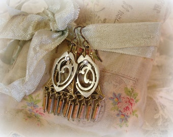 initial impression one of a kind vintage assemblage earrings antique french monograme V and O vintage brass antique enamel watch chain